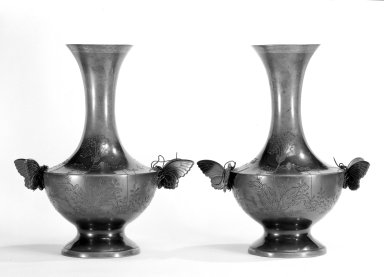 Japanese. <em>Pair of Vases</em>, 1880. Bronze, 11 in. (27.9 cm). Brooklyn Museum, Gift of Mrs. William E. S. Griswold in memory of her father, John Sloane, 41.980.44. Creative Commons-BY (Photo: Brooklyn Museum, 41.980.44a-b_bw.jpg)