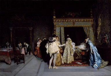 Francesco Jacovacci (Italian, 1838-1908). <em>Birth of a Prince</em>, 1876. Oil on canvas, 21 1/8 x 30 1/8 in.  (53.7 x 76.5 cm). Brooklyn Museum, Gift of Mr. and Mrs. William E. S. Griswold, 41.980.64 (Photo: Brooklyn Museum, 41.980.64_SL3.jpg)