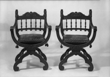 Herter Brothers (American, 1865-1905). <em>Pair of Armchairs (x-frame)                                    (Renaissance Revival style)</em>, ca. 1881. Mahogany, modern upholstery, 36 1/2 x 25 x 19 in. (92.7 x 63.5 x 48.3 cm). Brooklyn Museum, Gift of Mrs. William E. S. Griswold in memory of her father, John Sloane, 41.980.7a-b. Creative Commons-BY (Photo: Brooklyn Museum, 41.980.7a-b_acetate_bw.jpg)