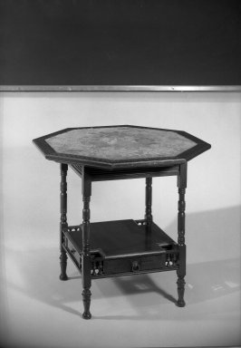 Herter Brothers (American, 1865-1905). <em>Center Table</em>, ca. 1881. Mahogany, inlay of various woods, brass, textile, 26 1/2 x 28 1/2 in. (67.3 x 72.4 cm). Brooklyn Museum, Gift of Mrs. William E. S. Griswold in memory of her father, John Sloane, 41.980.8. Creative Commons-BY (Photo: Brooklyn Museum, 41.980.8_acetate_bw.jpg)