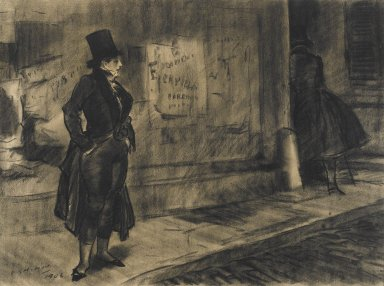 Everett Shinn (American, 1876-1953). <em>Frédérique Follows Her Husband, Illustration for Frédérique</em>, 1906. Black crayon (probably Conté) on beige, medium-weight, slightly textured wove paper., Sheet: 15 5/8 x 21 in. (39.7 x 53.3 cm). Brooklyn Museum, Dick S. Ramsay Fund, 42.101 (Photo: Brooklyn Museum, 42.101_PS4.jpg)