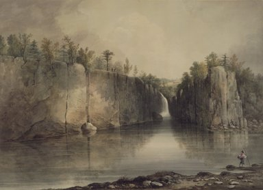 William Guy Wall (American, 1792-after 1864). <em>Falls of the Passaic</em>, ca. 1820. Transparent watercolor with touches of opaque watercolor over graphite on cream, moderately thick, moderately textured wove paper mounted to Japanese paper, 17 3/8 x 24 in. (44.1 x 61 cm). Brooklyn Museum, Dick S. Ramsay Fund, 42.108 (Photo: Brooklyn Museum, 42.108.jpg)