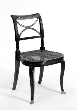 Duncan Phyfe (American, born Scotland, 1768-1854). <em>Side Chair</em>. Mahogany Brooklyn Museum, Anonymous gift, 42.118.10. Creative Commons-BY (Photo: Brooklyn Museum, 42.118.10_bw.jpg)