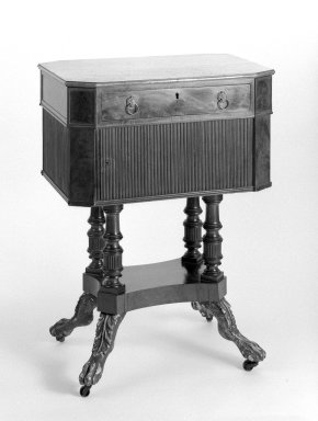 Duncan Phyfe (American, born Scotland, 1768-1854). <em>Sewing Table</em>. Brooklyn Museum, Anonymous gift, 42.118.15. Creative Commons-BY (Photo: Brooklyn Museum, 42.118.15_bw.jpg)