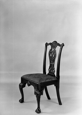 Unknown. <em>Side Chair</em>, ca. 1760. Mahogany with upholstery, 40 x 23 1/2 x 22 1/4 in. (101.6 x 59.7 x 56.5 cm). Brooklyn Museum, Anonymous gift, 42.118.3. Creative Commons-BY (Photo: Brooklyn Museum, 42.118.3b_acetate_bw.jpg)