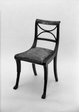 Duncan Phyfe (American, born Scotland, 1768-1854). <em>Side Chair</em>. Brooklyn Museum, Anonymous gift, 42.118.5. Creative Commons-BY (Photo: Brooklyn Museum, 42.118.5a_acetate_bw.jpg)