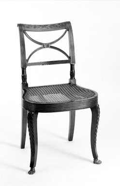 Duncan Phyfe (American, born Scotland, 1768-1854). <em>Side Chair</em>. Mahogany Brooklyn Museum, Anonymous gift, 42.118.7. Creative Commons-BY (Photo: Brooklyn Museum, 42.118.7_view2_bw.jpg)