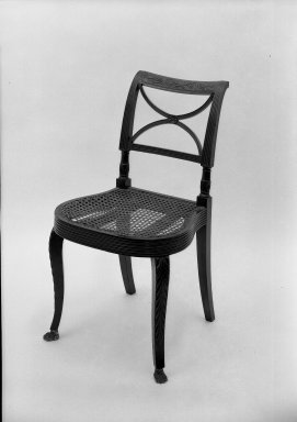 Duncan Phyfe (American, born Scotland, 1768-1854). <em>Side Chair</em>. Mahogany Brooklyn Museum, Anonymous gift, 42.118.8. Creative Commons-BY (Photo: Brooklyn Museum, 42.118.8a_acetate_bw.jpg)