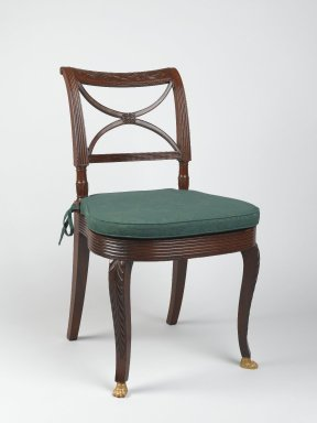 Duncan Phyfe (American, born Scotland, 1768-1854). <em>Side Chair</em>. Mahogany Brooklyn Museum, Anonymous gift, 42.118.9. Creative Commons-BY (Photo: Brooklyn Museum, 42.118.9_PS2.jpg)