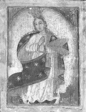 Unknown. <em>(Virgin as Queen of Heaven)</em>. Oil on panel, 6 1/4 x 4 13/16 in. (15.9 x 12.2 cm). Brooklyn Museum, Carll H. de Silver Fund, 42.12 (Photo: Brooklyn Museum, 42.12_framed_bw.jpg)