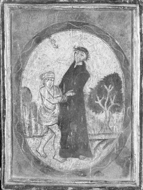 Unknown. <em>(St. Francis Helping Beggar)</em>. Oil on panel, 6 x 5 in. (15.2 x 12.7 cm). Brooklyn Museum, Carll H. de Silver Fund, 42.13 (Photo: Brooklyn Museum, 42.13_framed_bw.jpg)