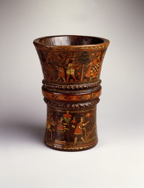 Quechua. <em>Kero Cup</em>, late 17th-18th century. Wood with pigment inlay, 7 7/8 x 6 1/8 x 6 1/8 in. (20 x 15.6 x 15.6 cm). Brooklyn Museum, A. Augustus Healy Fund, 42.149. Creative Commons-BY (Photo: Brooklyn Museum, 42.149_SL3.jpg)