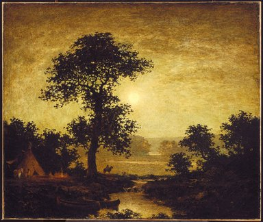 Ralph Albert Blakelock (American, 1847-1919). <em>Moonlight</em>, ca. 1885-1889. Oil on canvas, 27 1/16 x 32 in. (68.7 x 81.3 cm). Brooklyn Museum, Dick S. Ramsay Fund, 42.171 (Photo: Brooklyn Museum, 42.171_SL1.jpg)