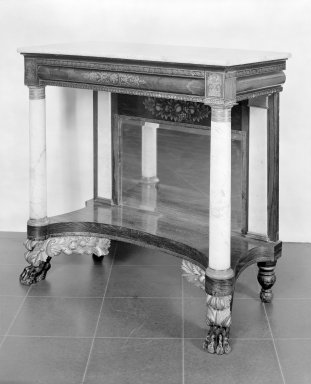 Edward Holmes (American, ca. 1785-?). <em>Pier Table</em>, 1825-1829. Rosewood with gilt stenciled decoration, marble, gilt bronze, silvered glass, 38 1/2 x 40 x 18 3/4 in. (97.8 x 101.6 x 47.6 cm). Brooklyn Museum, Dick S. Ramsay Fund, 42.182. Creative Commons-BY (Photo: Brooklyn Museum, 42.182.jpg)