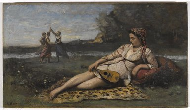 Jean-Baptiste-Camille Corot (French, 1796-1875). <em>Young Women of Sparta (Jeunes filles de Sparte)</em>, 1868-1870. Oil on canvas, 16 3/4 x 29 7/16 in. (42.5 x 74.8 cm). Brooklyn Museum, Gift of Mrs. Horace O. Havemeyer, 42.195 (Photo: Brooklyn Museum, 42.195_PS9.jpg)