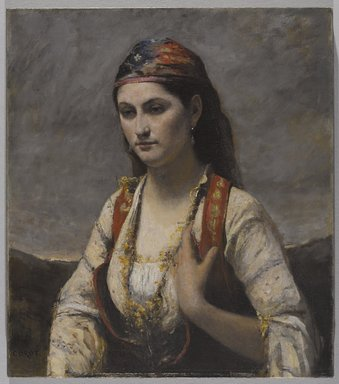Jean-Baptiste-Camille Corot (French, 1796-1875). <em>The Young Woman of Albano (L'Albanaise)</em>, 1872. Oil on canvas, 29 3/16 x 25 13/16 in. (74.1 x 65.6 cm). Brooklyn Museum, Gift of Mrs. Horace O. Havemeyer, 42.196 (Photo: Brooklyn Museum, 42.196_PS9.jpg)