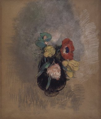 Odilon Redon (French, 1840-1916). <em>Anemones and Tulips (Anémones et Tulipes)</em>, 1902-1903. Pastel on tan paper, Sheet: 21 9/16 x 18 1/4 in. (54.8 x 46.4 cm). Brooklyn Museum, Gift of Mrs. Horace O. Havemeyer, 42.198 (Photo: Brooklyn Museum, 42.198.jpg)
