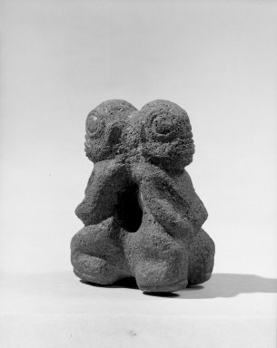 Marquesan. <em>Double Figure (Tiki Ke'a)</em>, before 1938. Stone, 4 1/8 x 3 1/8 in. (10.5 x 8 cm). Brooklyn Museum, A. Augustus Healy Fund, 42.211.111. Creative Commons-BY (Photo: Brooklyn Museum, 42.211.111_acetate_bw.jpg)
