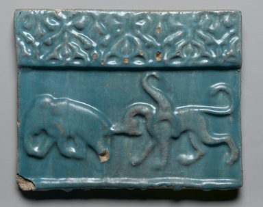 <em>Frieze Tile with Animals</em>, 13th-14th century. Ceramic; fritware, molded under a turquoise glaze, 10 3/8 x 13/16 x 8 7/16 in. (26.4 x 2 x 21.4 cm). Brooklyn Museum, Gift of Mrs. Horace O. Havemeyer, 42.212.19. Creative Commons-BY (Photo: Brooklyn Museum, 42.212.19_PS2.jpg)