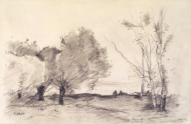 Jean-Baptiste-Camille Corot (French, 1796-1875). <em>Willows and White Poplars (Saules et peupliers blancs)</em>, 1865-1872. Charcoal on wove paper, sheet: 9 15/16 × 15 in. (25.2 × 38.1 cm). Brooklyn Museum, Henry L. Batterman Fund, 42.227 (Photo: Brooklyn Museum, 42.227_transp1571.jpg)