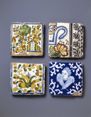<em>Tile</em>, circa 1700. Ceramic, glaze, 4 3/4 x 4 3/4 x 1/2in. (12.1 x 12.1 x 1.3cm). Brooklyn Museum, Museum Expedition 1942, Frank L. Babbott Fund, 42.235.1. Creative Commons-BY (Photo: Brooklyn Museum, 42.235.1_SL4.jpg)