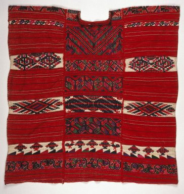 Chinanteca. <em>Woman's Blouse (Huipil)</em>, ca.1942. Cotton, wool, silk or rayon, 35 1/8 x 33 1/2 in. (89.2 x 85.1 cm). Brooklyn Museum, Museum Expedition 1942, Frank L. Babbott Fund, 42.235.48. Creative Commons-BY (Photo: Brooklyn Museum, 42.235.48_SL1.jpg)