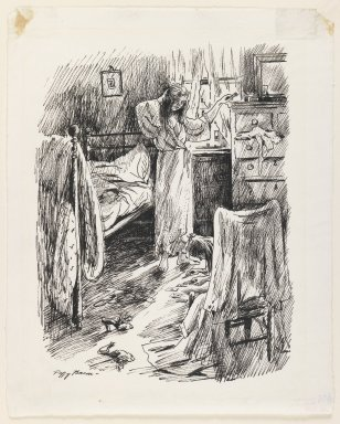 Peggy Bacon (American, 1895-1987). <em>Taking Quite an Interest in Things</em>, ca. 1938. Ink on wove paper, Sheet: 10 3/4 x 9 5/8 in. (27.3 x 24.4 cm). Brooklyn Museum, Gift of Harper's Bazaar, 42.238. © artist or artist's estate (Photo: Brooklyn Museum, 42.238_IMLS_PS3.jpg)