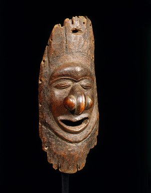 Kanak. <em>Mask (Pwemwe)</em>, 19th or early 20th century. Wood, 10 1/2 x 4 1/2 x 3 3/4 in. (26.7 x 11.4 x 9.5 cm). Brooklyn Museum, By exchange, 42.243.19. Creative Commons-BY (Photo: Brooklyn Museum, 42.243.19_SL1.jpg)