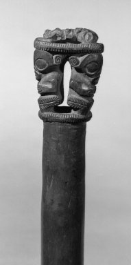 Marquesan. <em>Staff</em>. Wood, 28 3/8 x 1 15/16 x 1 3/8 in. (72 x 5 x 3.5 cm). Brooklyn Museum, By exchange, 42.243.20. Creative Commons-BY (Photo: Brooklyn Museum, 42.243.20_acetate_bw.jpg)