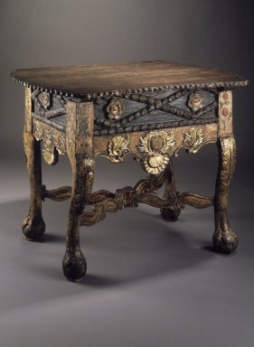 <em>Table</em>, late 18th or early 19th century. Wood; carved, pigment, gilding, 33 1/8 x 43 3/8 x 27 3/8 in. Brooklyn Museum, Gift of Percy C. Madeira, Jr., 42.244.16. Creative Commons-BY (Photo: Brooklyn Museum, 42.244.16.jpg)