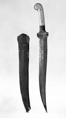 <em>Dagger with Scabbard</em>., 18 3/8 in. (46.7 cm). Brooklyn Museum, Gift of Percy C. Madeira, Jr., 42.245.12a-b. Creative Commons-BY (Photo: Brooklyn Museum, 42.245.12a-b_bw_SL4.jpg)