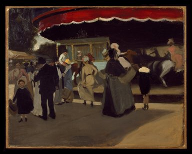 Alfred Henry Maurer (American, 1868-1932). <em>Carrousel</em>, ca. 1901-1902. Oil on cardboard, 28 7/8 x 36 in. (73.4 x 91.4 cm). Brooklyn Museum, Gift of Colonel Michael Friedsam, A. Augustus Healy, Alfred W. Jenkins, Mrs. Christian P. Roos, and Charles A. Schieren, by exchange, and John B. Woodward Memorial Fund  , 42.253 (Photo: Brooklyn Museum, 42.253_SL3.jpg)