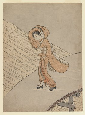 Suzuki Harunobu (Japanese, 1724-1770). <em>Young Girl Crossing a Bridge after Snow: Calendar Year of the Second Year of Meiwa</em>, 1765. Color woodblock print on paper, 10 3/4 x 8 7/8 in. (27.4 x 20.0 cm). Brooklyn Museum, Gift of Mr. and Mrs. Gilbert E. Fuller, 42.254 (Photo: Brooklyn Museum, 42.254_IMLS_PS3.jpg)
