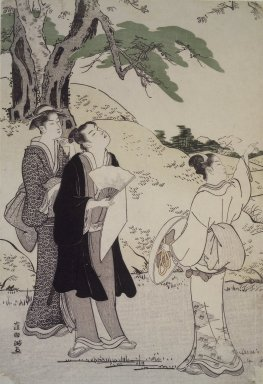 Kubo Shunman (Japanese, 1757-1820). <em>Cherry Blossom Viewing Outing</em>, late 18th century. Woodblock color print, .1: 12 9/16 x 8 9/16 in. (32.0 x 21.8 cm). Brooklyn Museum, Gift of Mr. and Mrs. Gilbert E. Fuller, 42.255.1-.3 (Photo: Brooklyn Museum, 42.255.1-3_viewA.jpg)
