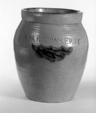 American. <em>Jar</em>, 19th century. Stoneware, 7 5/8 x 6 1/2 x 6 1/2 in. (19.4 x 16.5 x 16.5 cm). Brooklyn Museum, Anonymous gift, 42.278.4. Creative Commons-BY (Photo: Brooklyn Museum, 42.278.4_bw.jpg)