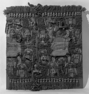Chimú. <em>Royal Tunic</em>, 1000-1500. Cotton, camelid fiber, Including fringe: 34 13/16 x 39 3/8 in. (88.5 x 100 cm). Brooklyn Museum, A. Augustus Healy Fund, 42.334. Creative Commons-BY (Photo: Brooklyn Museum, 42.334_acetate_bw.jpg)