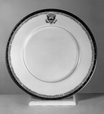 American. <em>Plate</em>, 1934. Porcelain, Diam.: 11 3/8 in. (28.9 cm). Brooklyn Museum, Gift of Lenox Incorporated, 42.347. Creative Commons-BY (Photo: Brooklyn Museum, 42.347_acetate_bw.jpg)