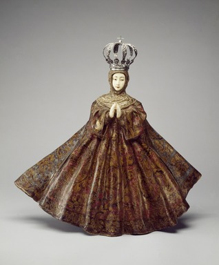Hispano-Philippine. <em>Virgin</em>, probably 18th century. Wood, ivory, pigment, gilding, gessoed cloth, and silver, Figure: 26 1/4 x 27 1/2 x 9 1/2 in. (66.7 x 69.9 x 24.1 cm). Brooklyn Museum, Frank L. Babbott Fund, 42.384. Creative Commons-BY (Photo: Brooklyn Museum, 42.384_after_treatment_SL3.jpg)