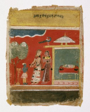 Indian. <em>Yashoda Ties Krishna to a Mortar, Page from a dated Rasikapriya Series</em>, 1634. Opaque watercolor and gold on paper, sheet: 7 3/4 x 6 1/16 in.  (19.7 x 15.4 cm). Brooklyn Museum, By exchange, 42.407 (Photo: Brooklyn Museum, 42.407_IMLS_SL2.jpg)