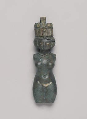 <em>Figure of a Nude Woman</em>, ca. 760-656 B.C.E. Bronze, paste (?), Height 6 11/16 in. (17 cm). Brooklyn Museum, By exchange, 42.410. Creative Commons-BY (Photo: , 42.410_PS9.jpg)