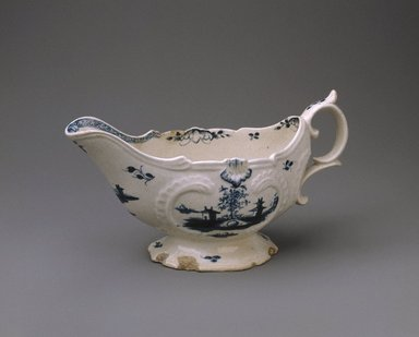 Gousse Bonnin. <em>Sauce Boat</em>, 1771-1772. Porcelain, with handle: 4 1/8 x 3 1/2 x 7 1/2 in. (10.5 x 8.9 x 19.1 cm). Brooklyn Museum, Dick S. Ramsay Fund, 42.412. Creative Commons-BY (Photo: Brooklyn Museum, 42.412_SL1.jpg)