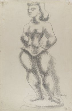 "Chaim Gross (American, born Austria, 1904-1991). <em>Study No. 1 for ""Ballerina,""</em> ca. 1940. Graphite on green-grey, medium-weight, moderately textured laid paper, Sheet: 38 x 25 5/16 in. (96.5 x 64.3 cm). Brooklyn Museum, Designated Purchase Fund, 42.418. © artist or artist's estate (Photo: Brooklyn Museum, 42.418_PS4.jpg)"