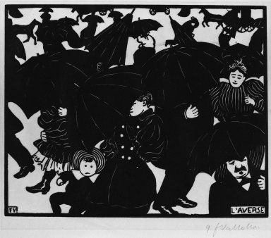 Félix Vallotton (Swiss, 1865-1925). <em>The Shower (L'Averse)</em>, 1894. Woodcut on wove paper, Image: 7 1/8 x 8 15/16 in. (18.1 x 22.7 cm). Brooklyn Museum, Henry L. Batterman Fund, 42.423 (Photo: Brooklyn Museum, 42.423_bw_IMLS.jpg)