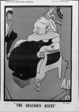 Auguste Roubille (French, 1872-1955). <em>The Gracious Queen</em>, ca. 1904. Poster on wove paper, 19 3/16 x 13 1/2 in. (48.8 x 34.3 cm). Brooklyn Museum, Gift of D. Irving Mead, 42.437.1 (Photo: Brooklyn Museum, 42.437.1_acetate_bw.jpg)