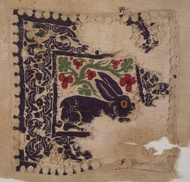 Coptic. <em>Square Fragment with Animal and Botanical Decoration</em>, 4th-5th century C.E. Wool, 8 1/4 x 8 1/4 in. (21 x 21 cm). Brooklyn Museum, Gift of Pratt Institute, 42.438.2. Creative Commons-BY (Photo: Brooklyn Museum, 42.438.2.jpg)