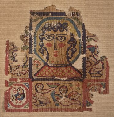 Coptic. <em>Square Fragment with Figural, Animal, and Botanical Decoration</em>, 6th century C.E. Flax, wool, 9 7/16 x 9 7/16 in. (24 x 24 cm). Brooklyn Museum, Gift of Pratt Institute, 42.438.4. Creative Commons-BY (Photo: Brooklyn Museum, 42.438.4.jpg)