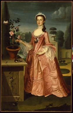 William Williams (American, 1727-1791, active in America 1746-1776). <em>Deborah Hall</em>, 1766. Oil on canvas, 71 3/8 x 46 3/8 in. (181.3 x 117.8 cm). Brooklyn Museum, Dick S. Ramsay Fund, 42.45 (Photo: Brooklyn Museum, 42.45_SL3.jpg)