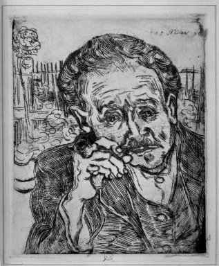 Vincent van Gogh (Dutch, 1853-1890). <em>Portrait of Dr. Gachet</em>, 1890. Etching on zinc on wove paper, 6 15/16 x 5 7/8 in. (17.7 x 15 cm). Brooklyn Museum, Charles Stewart Smith Memorial Fund, 42.52 (Photo: Brooklyn Museum, 42.52_acetate_bw.jpg)