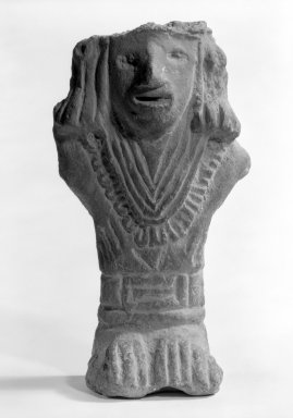 Aztec. <em>Standing Figure</em>. Clay Brooklyn Museum, Gift of Julius Loester, 42.69.21. Creative Commons-BY (Photo: Brooklyn Museum, 42.69.21_bw.jpg)