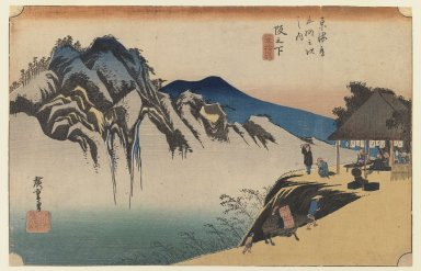 Utagawa Hiroshige (Ando) (Japanese, 1797-1858). <em>Sakanoshita: Fudesute Mountain, from the series Fifty-three Stations of the Tōkaidō Road</em>, ca. 1833-1834. Color woodblock print on paper, 8 7/8 x 13 3/4 in. (22.5 x 35 cm). Brooklyn Museum, Gift of Frederic B. Pratt, 42.72 (Photo: Brooklyn Museum, 42.72_IMLS_PS3.jpg)